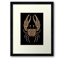 Rustic Cancer Zodiac Sign on Stone Effect Framed Print