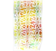 White Geometric Pattern on bright color wash  Poster
