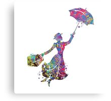 Mary Poppins Silhouette Watercolor Metal Print