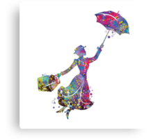 Mary Poppins Silhouette Watercolor Canvas Print