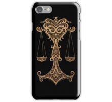 Rustic Libra Zodiac Sign on Black iPhone Case/Skin