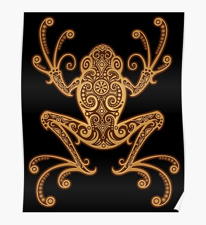 Intricate Golden Brown Tree Frog Poster