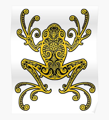 Intricate Yellow Tree Frog Poster