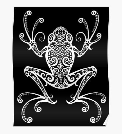 Intricate White and Black Tree Frog Poster