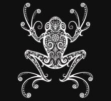 Intricate White and Black Tree Frog Kids Tee