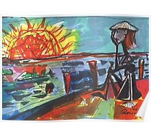 WATCHING THE SUN SET(COMPOSITION SKETCH)(c1995) Poster