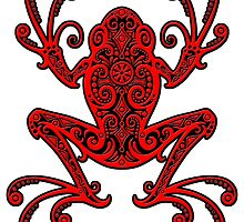 Intricate Red and Black Tree Frog by Jeff Bartels