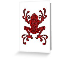 Intricate Red and Black Tree Frog Greeting Card
