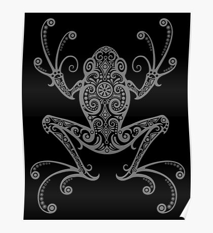 Intricate Gray and Black Tree Frog Poster