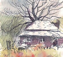 OLD FARM HOUSE ON THE WAY TO HARRISON HOT SPRINGS(C1992) by Paul Romanowski