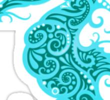 Intricate Teal Blue Tribal Seahorse Design  Sticker