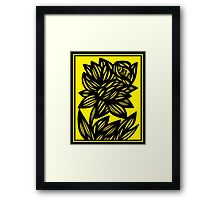 Penunuri Daffodil Flowers Yellow Black Framed Print