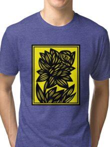 Penunuri Daffodil Flowers Yellow Black Tri-blend T-Shirt