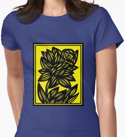 Penunuri Daffodil Flowers Yellow Black Womens Fitted T-Shirt