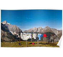 Laundry on the mountain pasture Poster