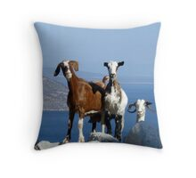 Happy Goats Throw Pillow