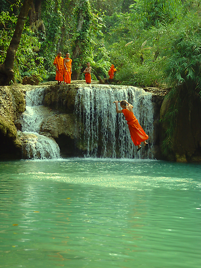 trainie buddhist monks playing by paul levy