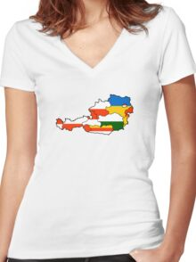 Austria States Flag Map Women's Fitted V-Neck T-Shirt