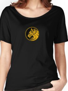 Growling Yellow and Black Wolf Circle Women's Relaxed Fit T-Shirt