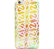 White Geometric Pattern on bright color wash  iPhone Case/Skin