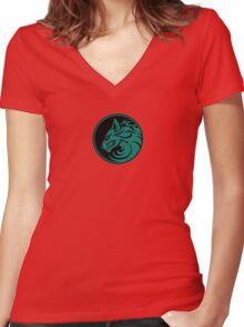 Growling Teal Blue and Black Wolf Circle Women's Fitted V-Neck T-Shirt