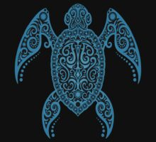Intricate Blue Sea Turtle by Jeff Bartels