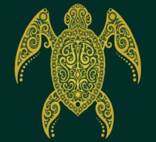 Intricate Green and Yellow Sea Turtle by Jeff Bartels