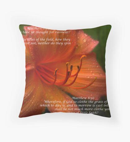 Matthew 6:28 Throw Pillow