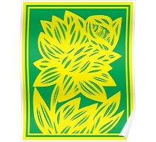 Goldwire Flowers Yellow Green Poster