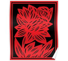Komlos Daffodil Flowers Red Black Poster