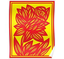 Fingado Daffodil Flowers Yellow Red Poster