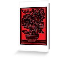 Sherill Flowers Red Black Greeting Card