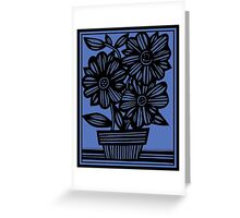 Sclavi Flowers Blue Black Greeting Card