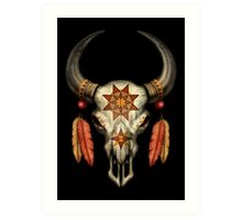 Decorated Native Bull Skull with Feathers Art Print