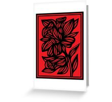 Brien Daffodil Flowers Red Black Greeting Card