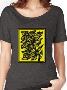 Shinney Daffodil Flowers Yellow Black Women's Relaxed Fit T-Shirt