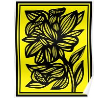 Shinney Daffodil Flowers Yellow Black Poster