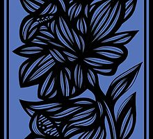 Calder Daffodil Flowers Blue Black by martygraw