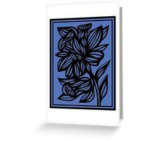 Calder Daffodil Flowers Blue Black Greeting Card