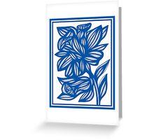 Maymon Daffodil Flowers Blue White Greeting Card