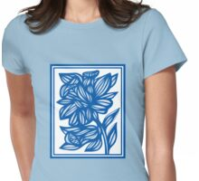 Maymon Daffodil Flowers Blue White Womens Fitted T-Shirt