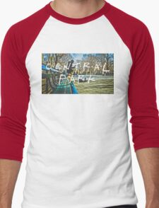 Central Park Typography Print Men's Baseball ¾ T-Shirt