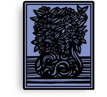 Armon Flowers Blue Black Canvas Print