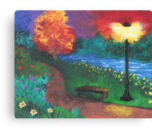 Park Bench in Evening Canvas Print