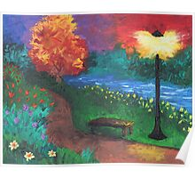 Park Bench in Evening Poster