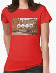 Bath Typography Print Womens Fitted T-Shirt