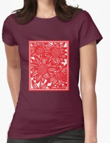 Villarrvel Flowers Red White Womens Fitted T-Shirt