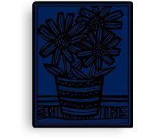 Pobanz Flowers Blue Black Canvas Print