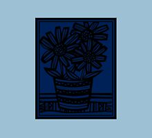 Pobanz Flowers Blue Black Womens Fitted T-Shirt