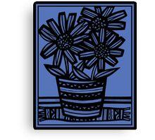 Novara Flowers Blue Black Canvas Print
